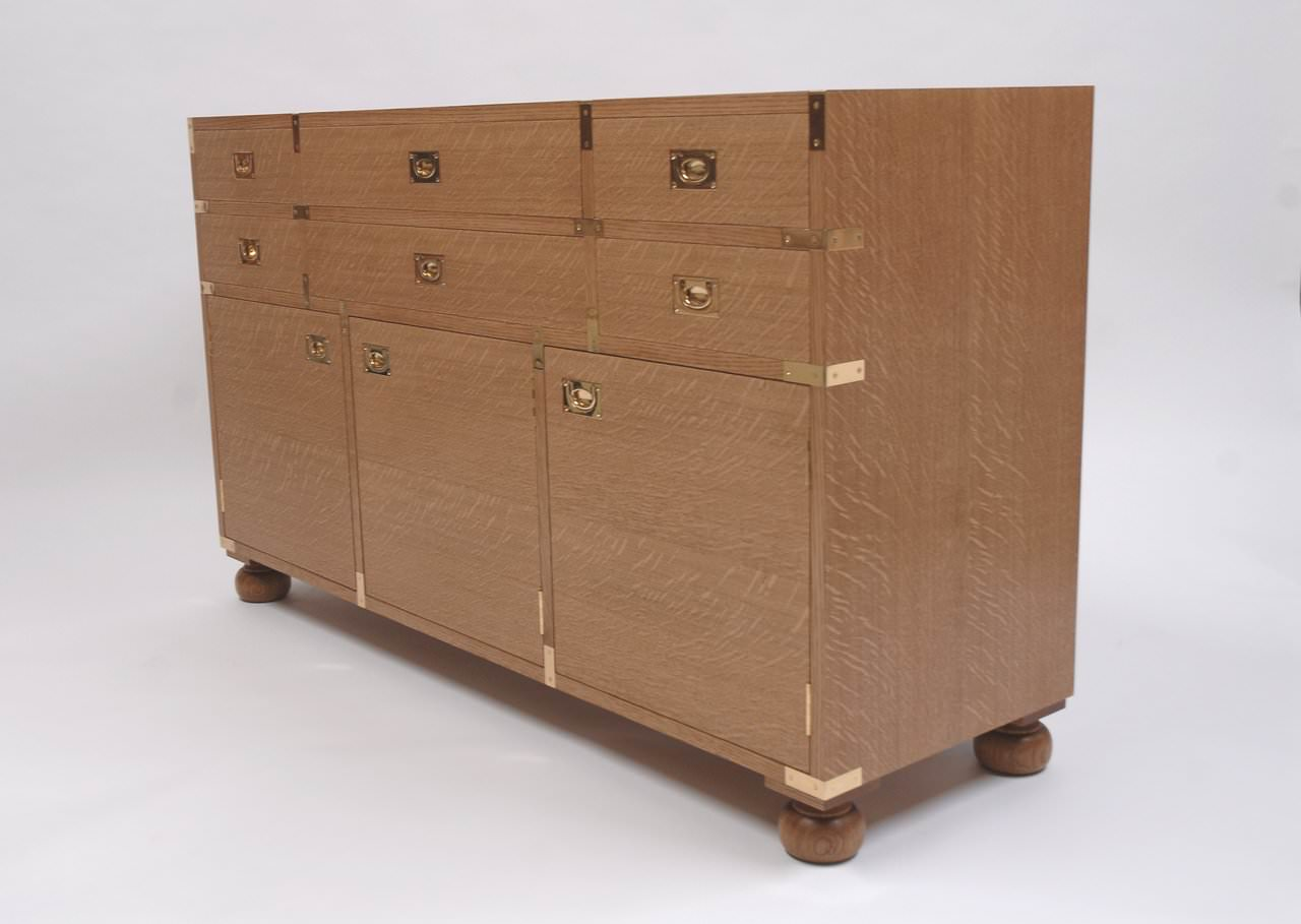 Bespoke Oak Campaign Chest With Brass Strap Work And Flush Brass Handles