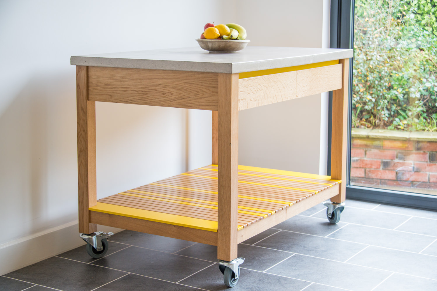 Handmade Serving Trolley In Oak, Cast Concrete And Yellow Lacquered Birch