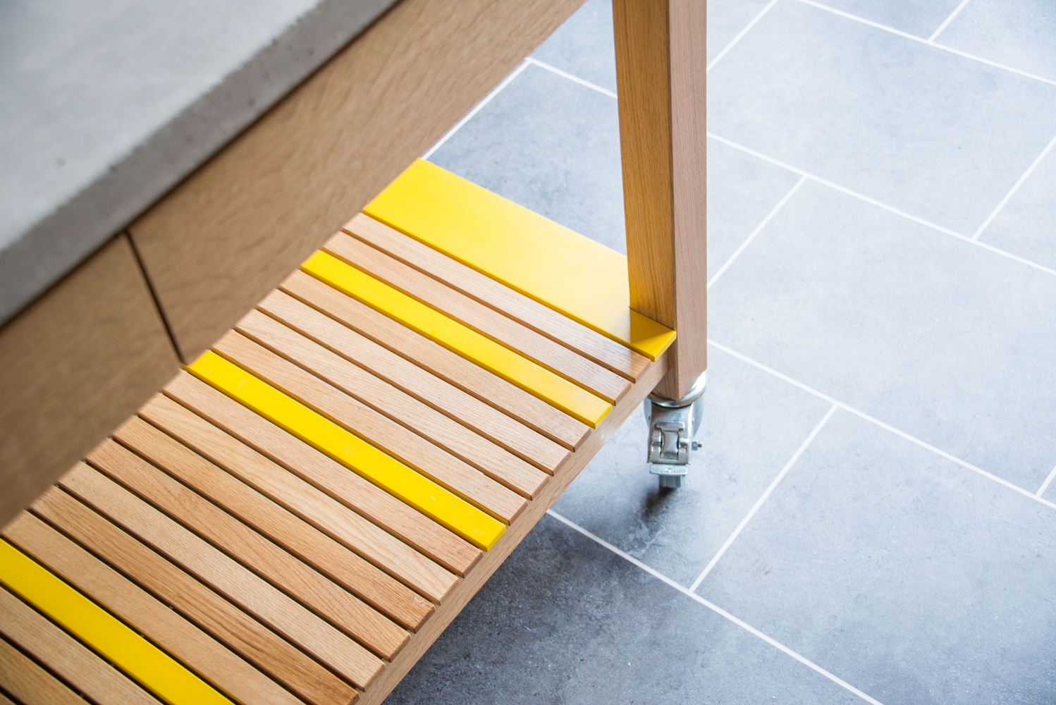 Yellow Lacquered Birch Detail In Gourouk Kitchen