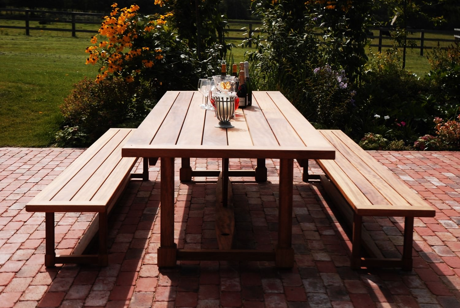 Iroko Garden Table Handmade by David Watson