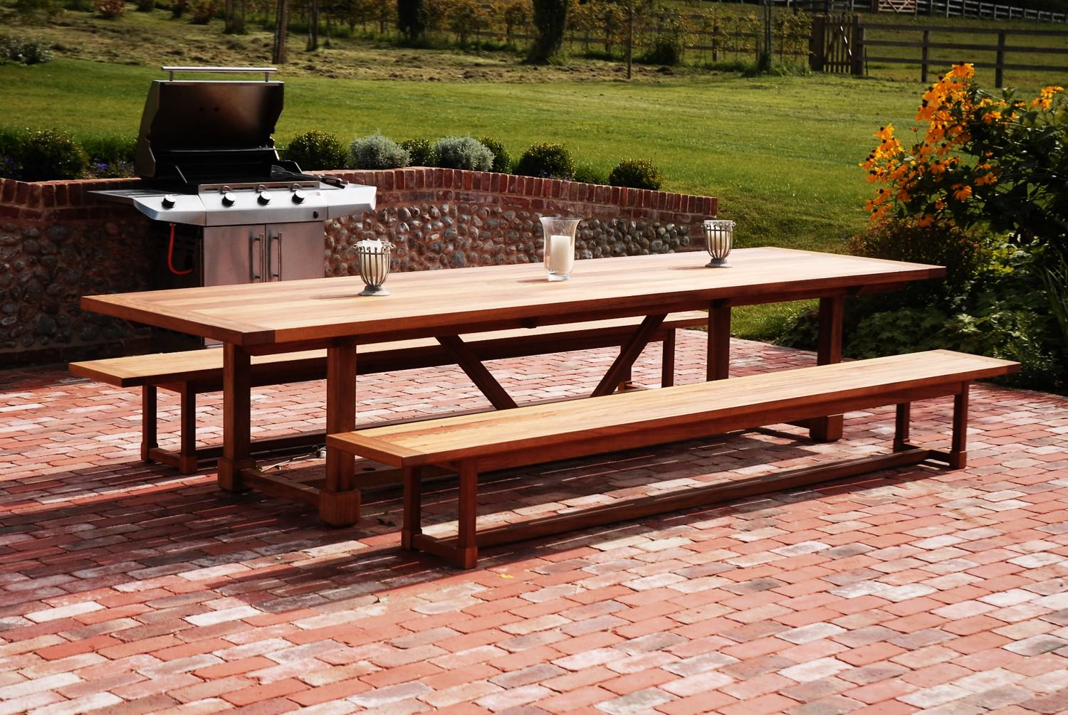 Handmade Outdoor Garden Table And Benches