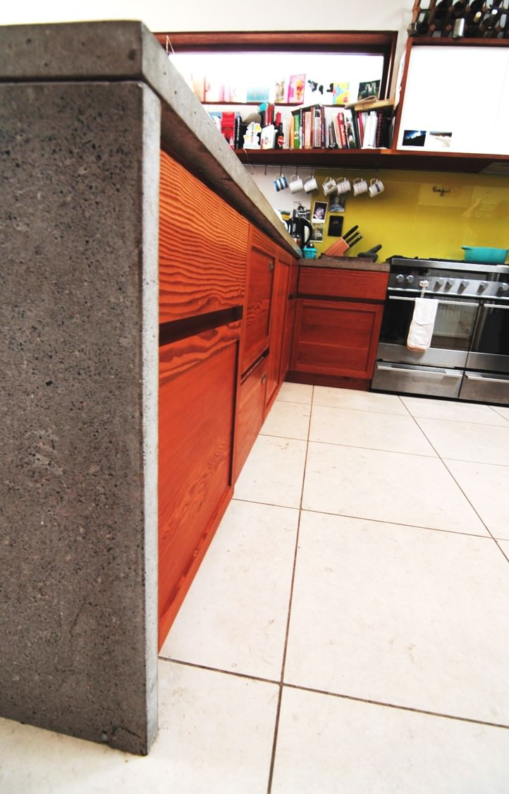 Custom Fitted Kitchen In Concrete and Scots Pine