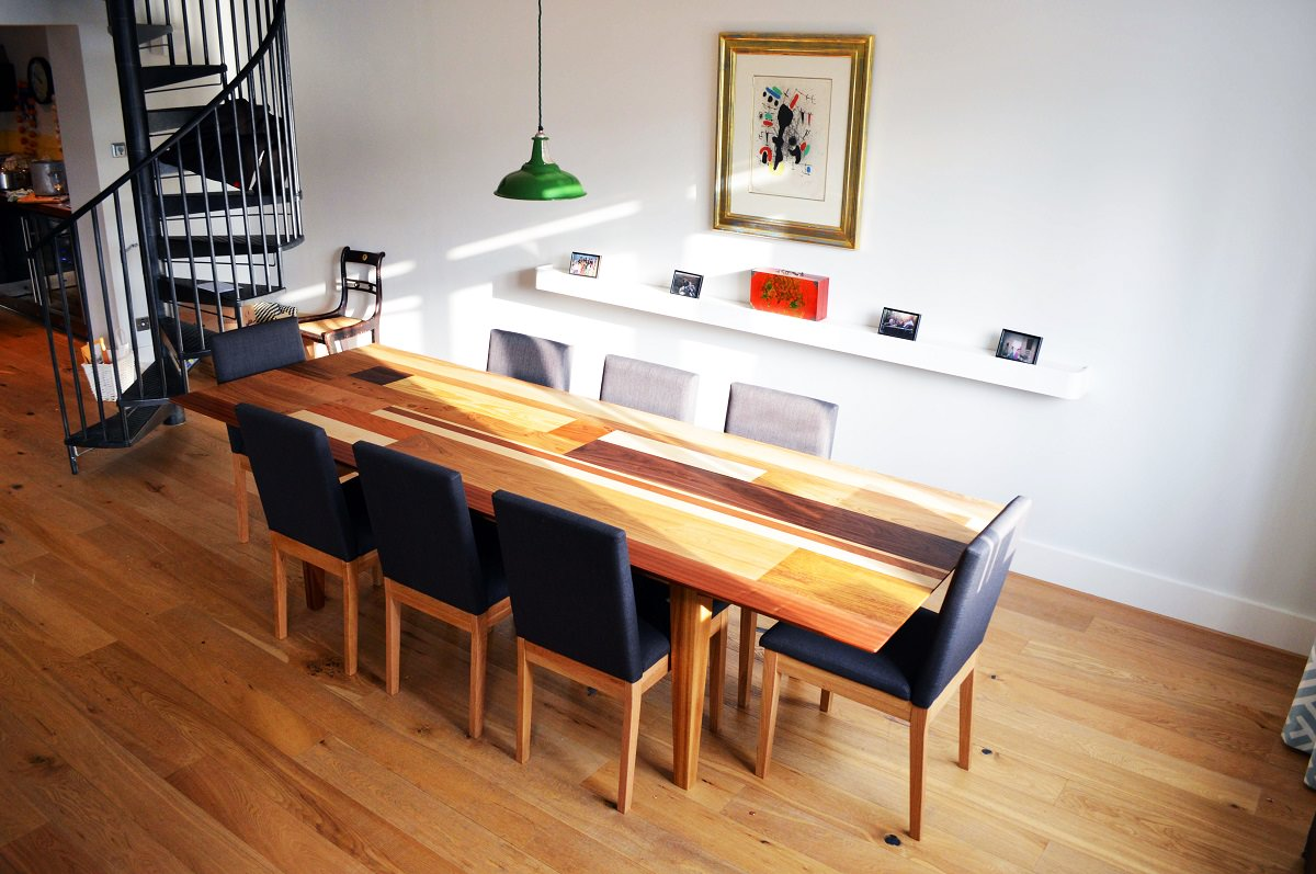 Beautiful Mosaic Dining Table Using Cherry Walnut Oak Sycamore And Iroko