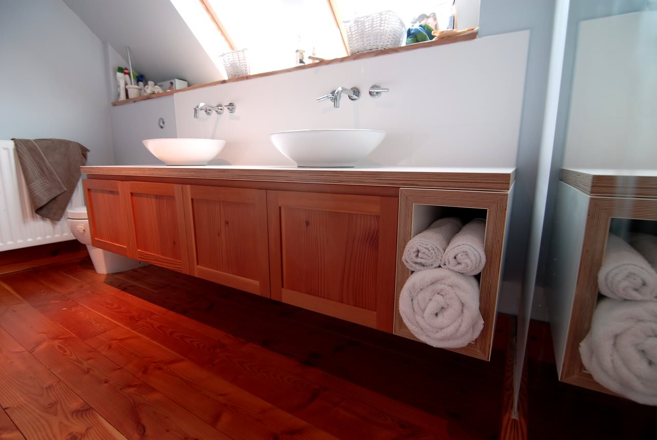 Handmade Bathroom Vanity Unit In Scots Pine
