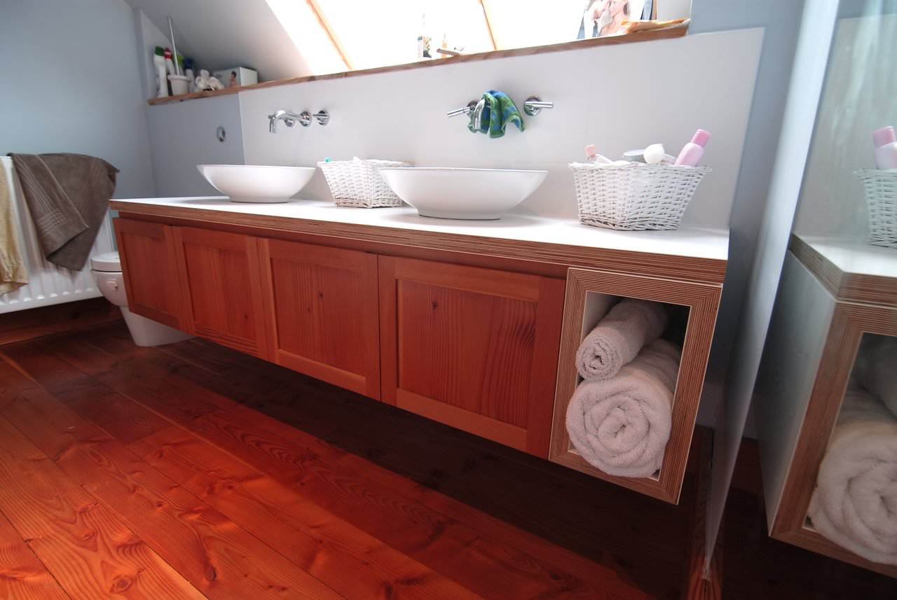 Bathroom Vanity Unit and Double Sink with Colour Core Worktop